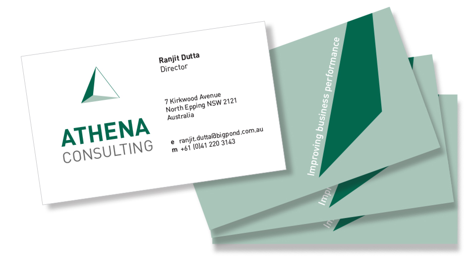 athena consulting business cards