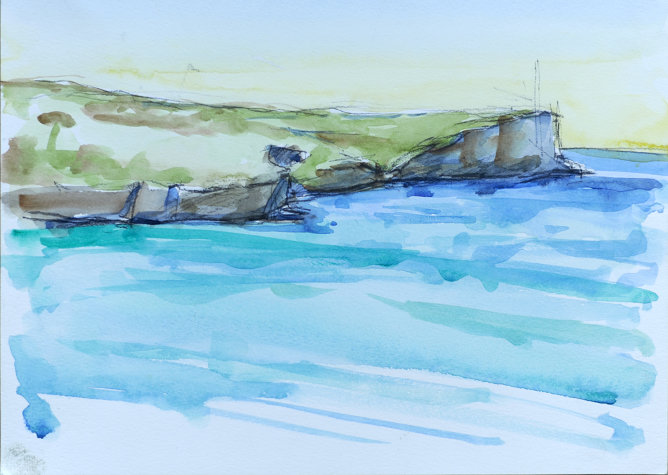middle head watercolour sketch